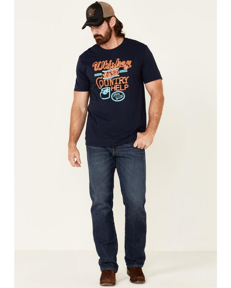 Moonshine Spirit Men's Whiskey & Help Neon Graphic Short Sleeve T-Shirt , Navy, hi-res