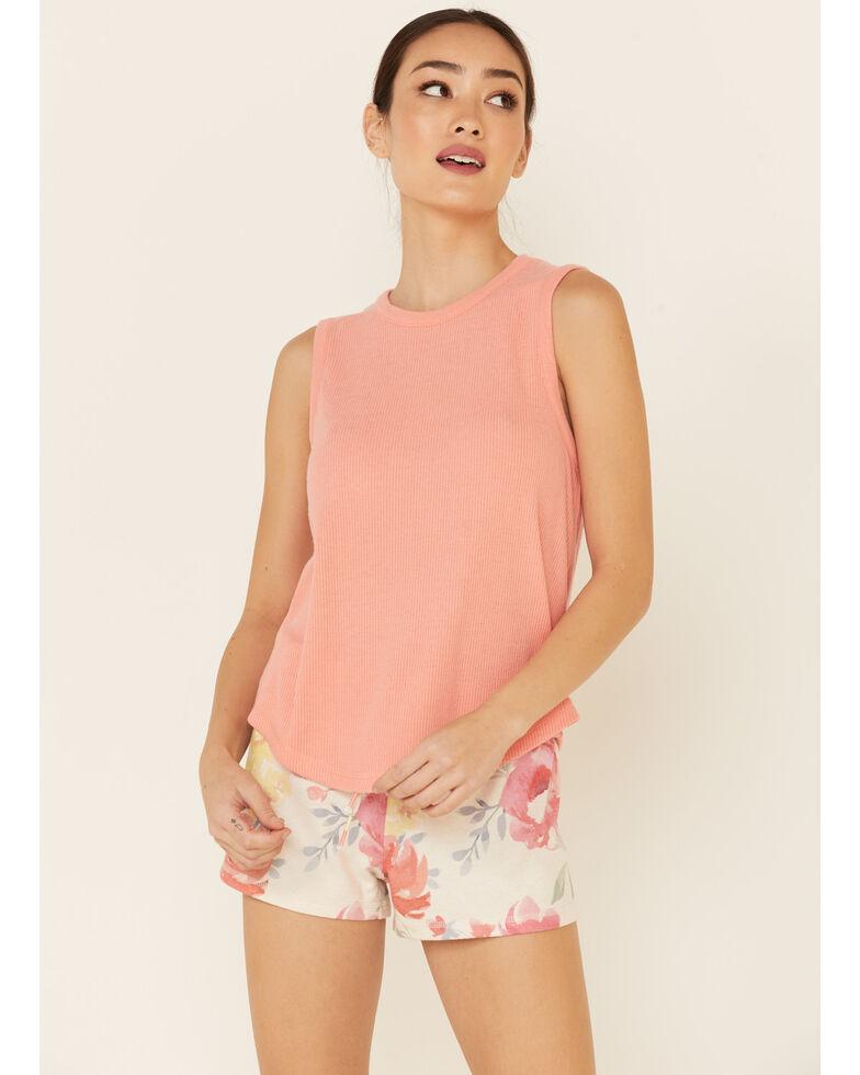 PJ Salvage Women's Coral Hi-Neck Ribbed Tank Top , Oatmeal, hi-res