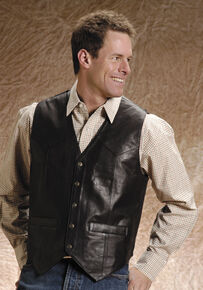 Roper Men's Leather Vest - Big & Tall, Brown, hi-res