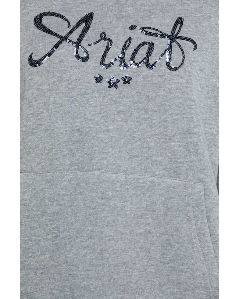 Ariat Women's Grey R.E.A.L. Sequin Hoodie, Grey, hi-res