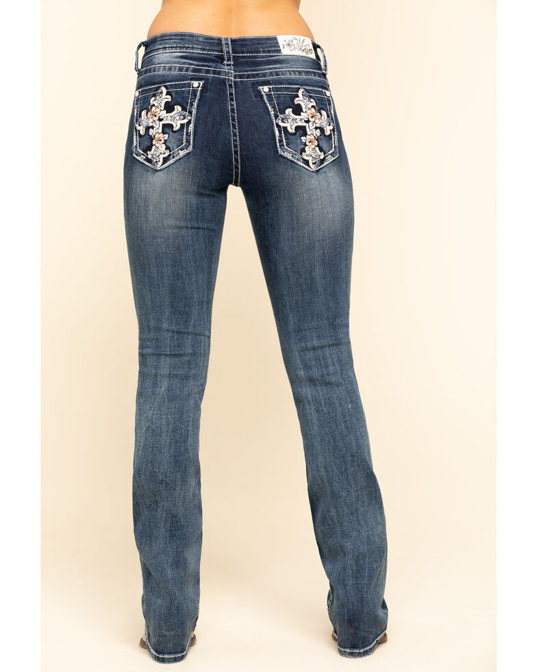 Grace in LA Women's  Medium Tropical Flower Cross Bootcut Jeans - Plus, Blue, hi-res