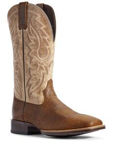Ariat Men's Barton Ultra Croc Print Western Boots - Wide Square Toe, Brown, hi-res