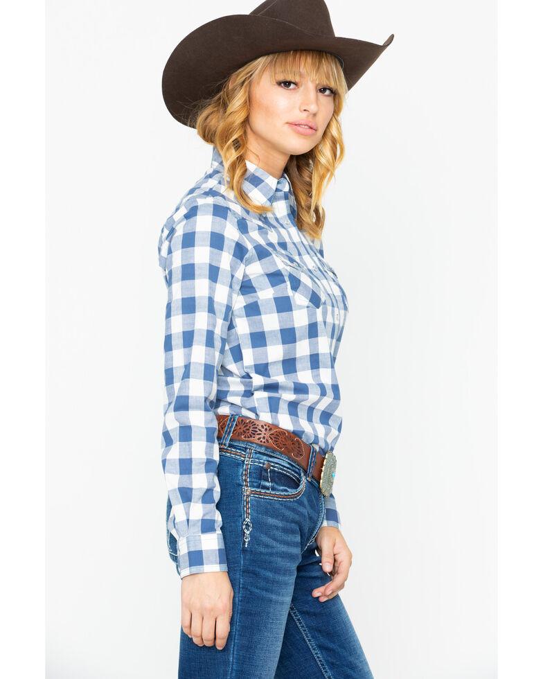 Wrangler Women's Blue Plaid Snap Long Sleeve Western Shirt , Blue, hi-res