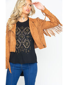 Flying Tomato Women's Zip-Up Fringe Jacket , Tan, hi-res