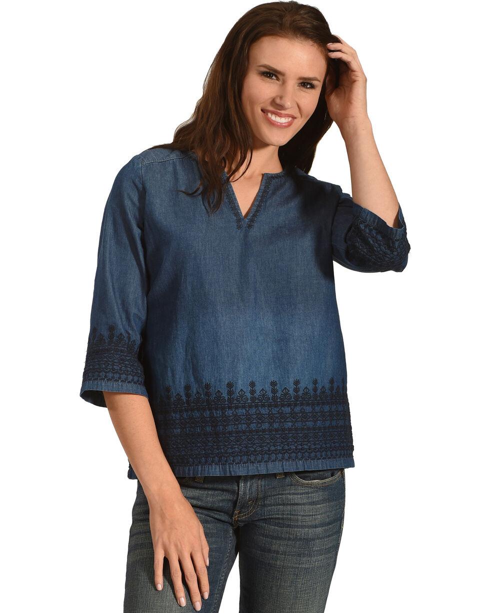 Angel Premium Women's Denim Kelly Anne Top, Indigo, hi-res