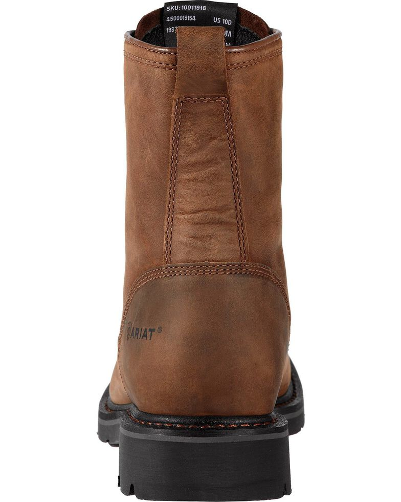 """Ariat Cascade 8"""" Lace-Up Work Boots - Steel Toe, Brown, hi-res"""