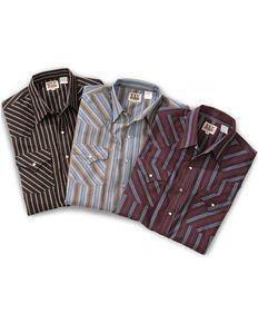 Ely Cattleman Men's Assorted Plaid or Stripe Long Sleeve Western Shirt, Stripe, hi-res