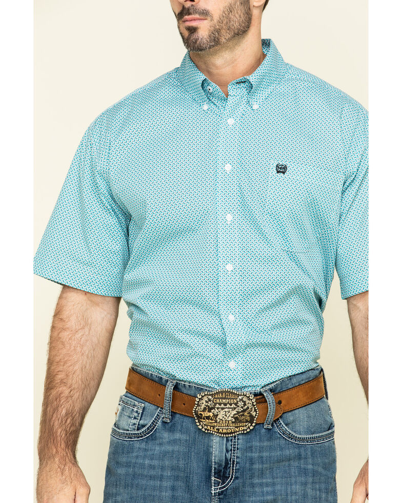 Cinch Men's Light Blue Geo Print Short Sleeve Western Shirt , Blue, hi-res