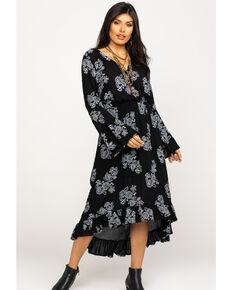 Rock & Roll Denim Women's Rose Faux Wrap Dress, Black, hi-res