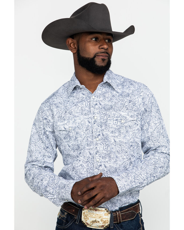 Wrangler Retro Men's Premium Blue Paisley Print Long Sleeve Western Shirt , Blue, hi-res