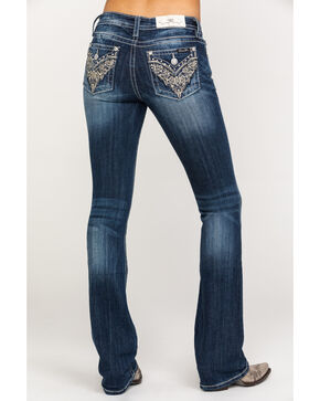 Miss Me Women's Gold Scroll Flex Flap Dark Boot Jeans , Blue, hi-res