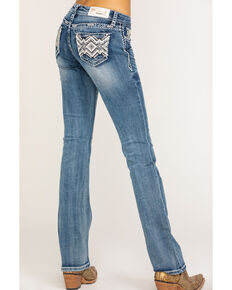 Grace in LA Women's Mid Aztec Diamond Bootcut Jeans, Blue, hi-res