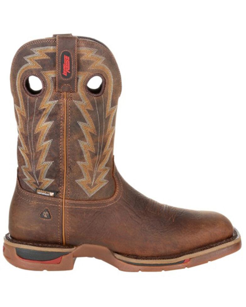 Rocky Men's Long Range Waterproof Western Boots - Square Toe, Distressed Brown, hi-res
