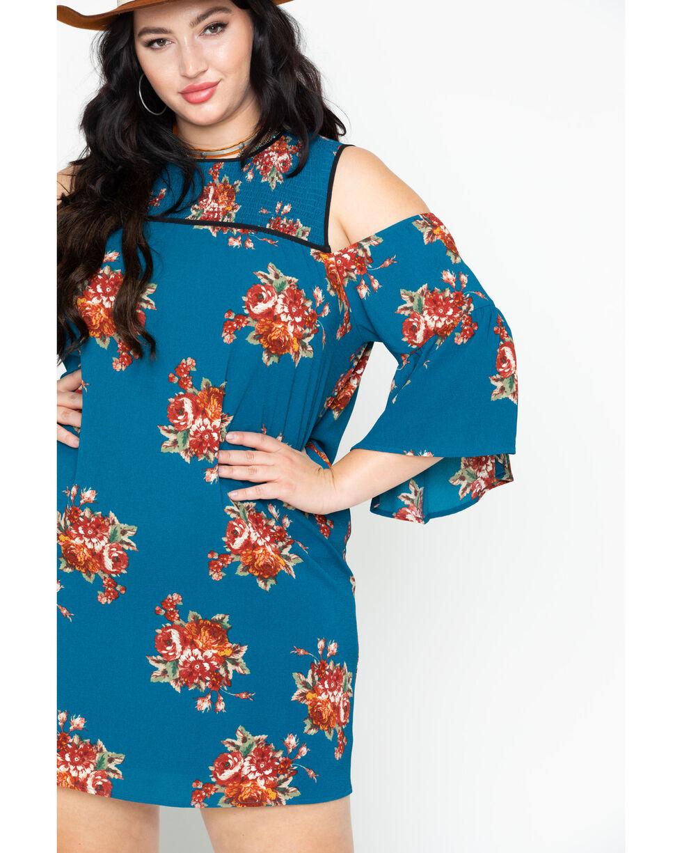 Flying Tomato Women's Floral Cold Shoulder Dress- Plus Size , Teal, hi-res