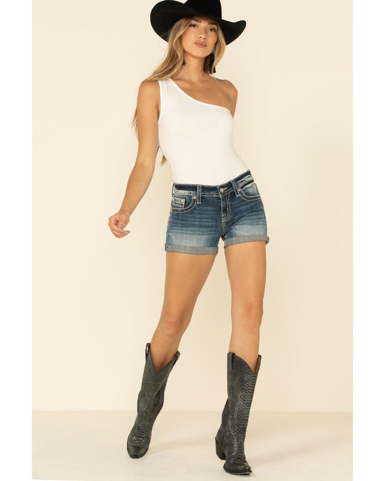 "Miss Me Women's Medium Cross 3"" Rolled Shorts , Blue, hi-res"