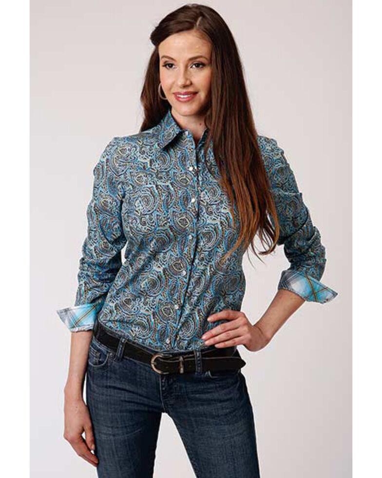 Amarillo Women's Sweetwater Mosiad Paisley Print Long Sleeve Snap Western Core Shirt , Blue, hi-res