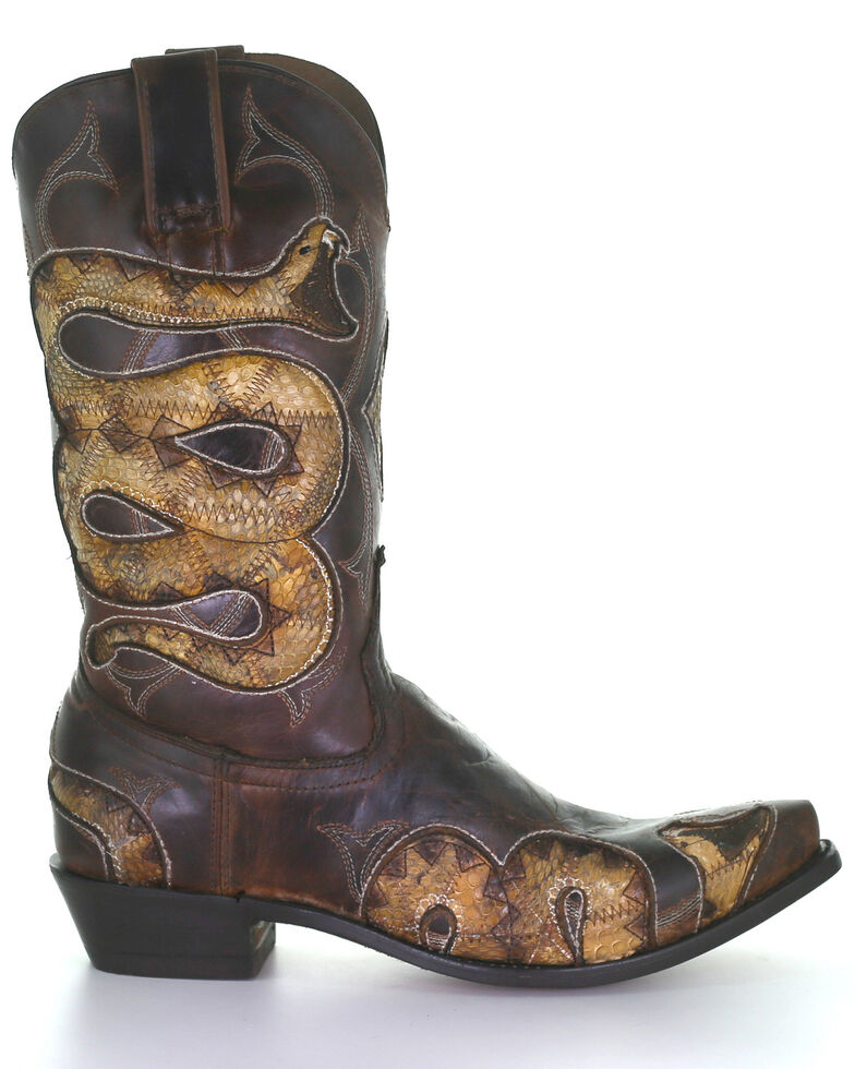 Corral Men's Honey Snake Inlay Western Boots - Snip Toe, Honey, hi-res