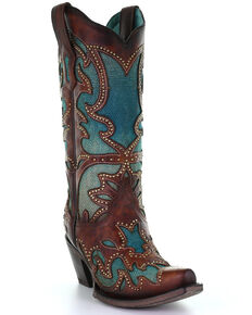 Corral Women's Turquoise Overlay Western Boots - Snip Toe, Brown, hi-res