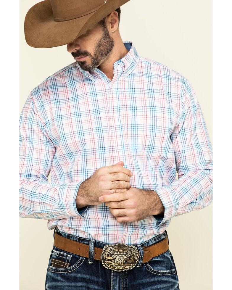 Ely Cattleman Black Label Men's Coral Med Plaid Long Sleeve Western Shirt , Coral, hi-res