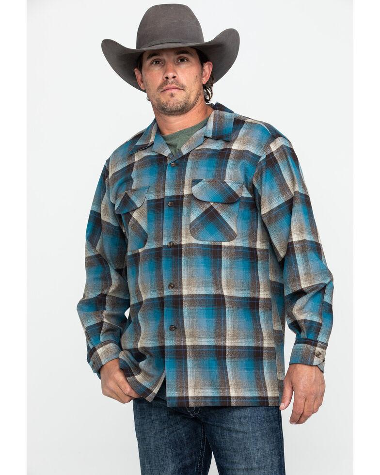 Pendleton Men's Original Board Long Sleeve Flannel Shirt Jacket, Brown, hi-res