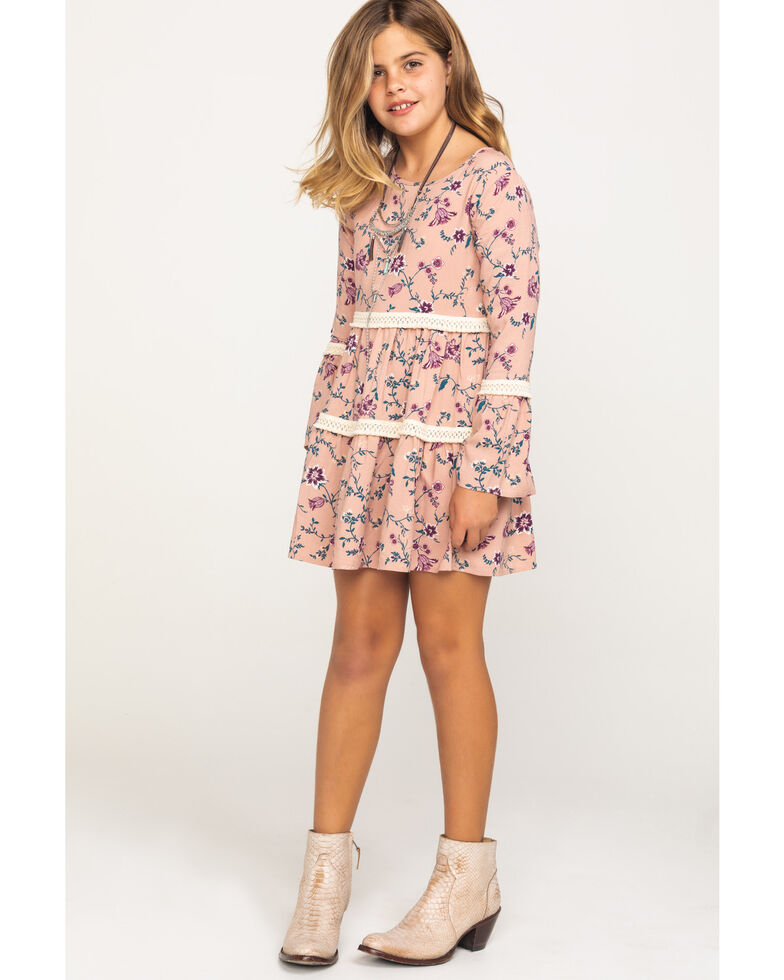 Shyanne Girls' Pink Floral Tiered Peasant Dress, Pink, hi-res