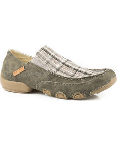 Roper Men's Grey Dougie Army Canvas Casual Driving Moc Shoes , Grey, hi-res