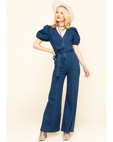 Flying Tomato Women's Blue Tue Front Denim Jumpsuit , Blue, hi-res