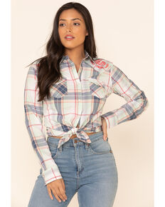Wrangler Women's Ivory Plaid Embroidered Yoke Long Sleeve Western Shirt , Ivory, hi-res