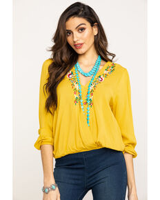 Red Label by Panhandle Women's Rust Floral Embroidered Top, Dark Yellow, hi-res
