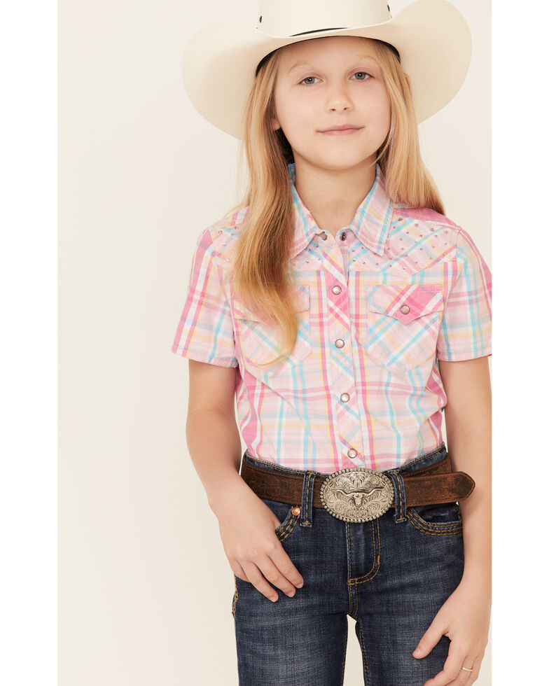Ely Walker Girls' Pink Plaid Short Sleeve Snap Western Shirt , Pink, hi-res