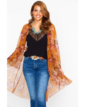 Nikki Erin Women's Floral Mesh Button Front Kimono, Dark Yellow, hi-res