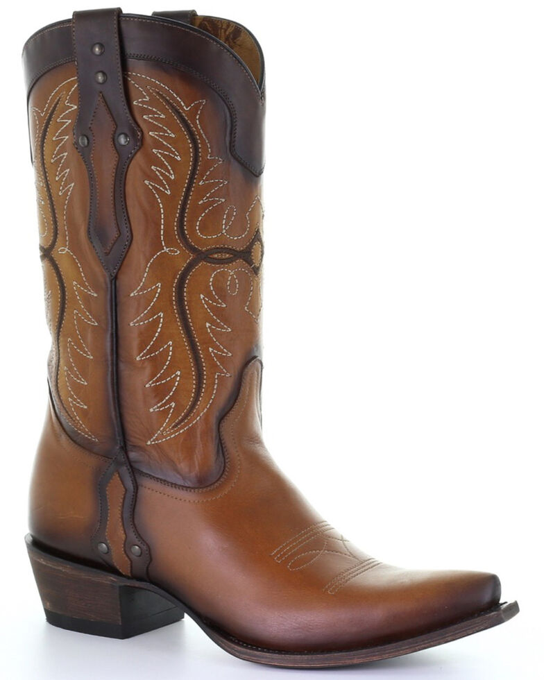 Corral Men's Brown Embroidery Western Boots - Snip Toe, Brown, hi-res