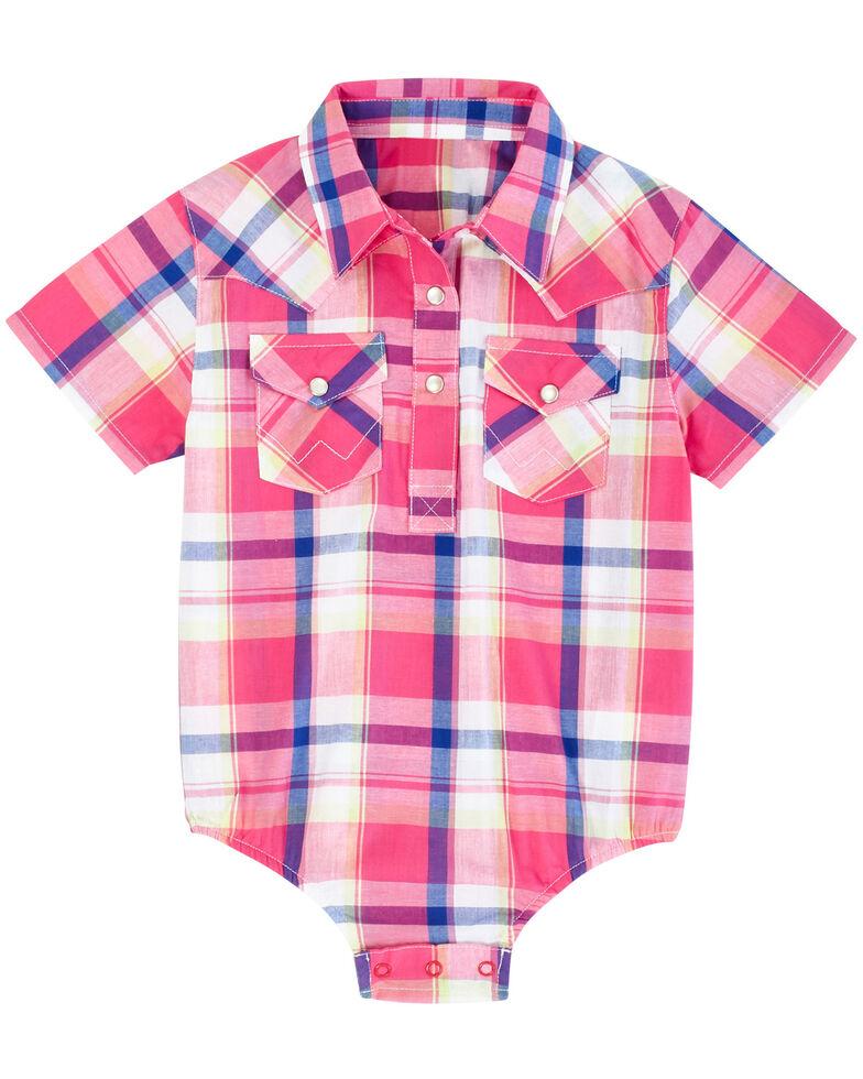 Wrangler Infant Girls' Pink & Purple Plaid Short Sleeve Bodysuit , Pink, hi-res