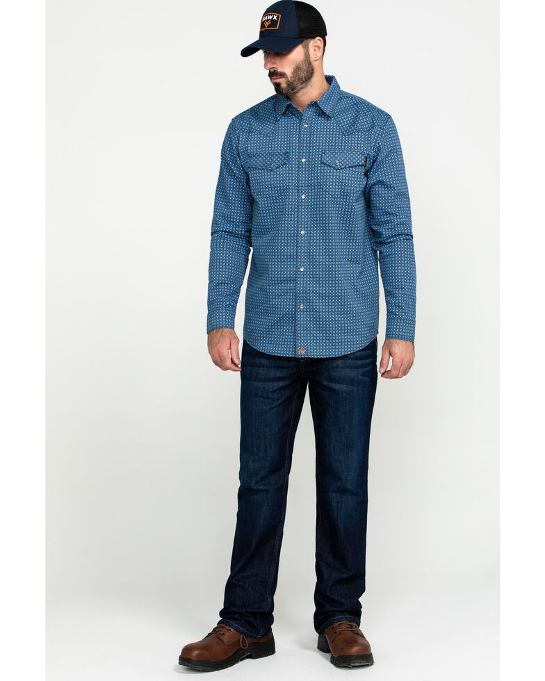 Cody James Men's FR Geo Print Long Sleeve Work Shirt - Tall, Blue, hi-res