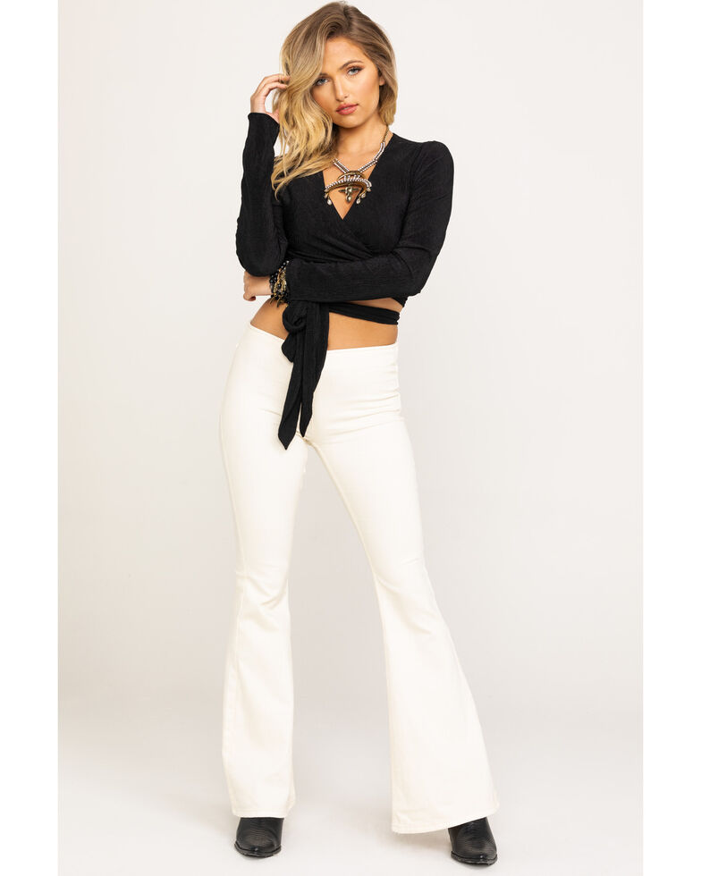 Free People Women's Ivory Flare Penny Pull On Jeans, Ivory, hi-res