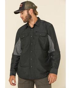ATG By Wrangler Men's Black Solid Mix Material Long Sleeve Western Shirt , Black, hi-res