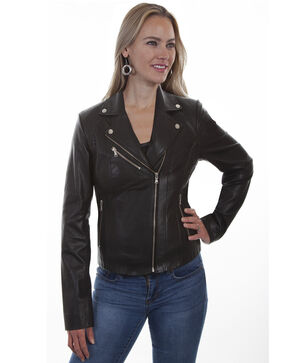 Leatherwear by Scully Women's Black Lamb Motorcycle Jacket, Black, hi-res