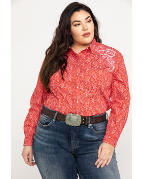 Rough Stock by Panhandle Women's Concho Vintage Print Long Sleeve Top - Plus, Red, hi-res
