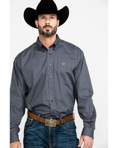 Cinch Men's Grey Diamond Geo Print Long Sleeve Western Shirt , Grey, hi-res