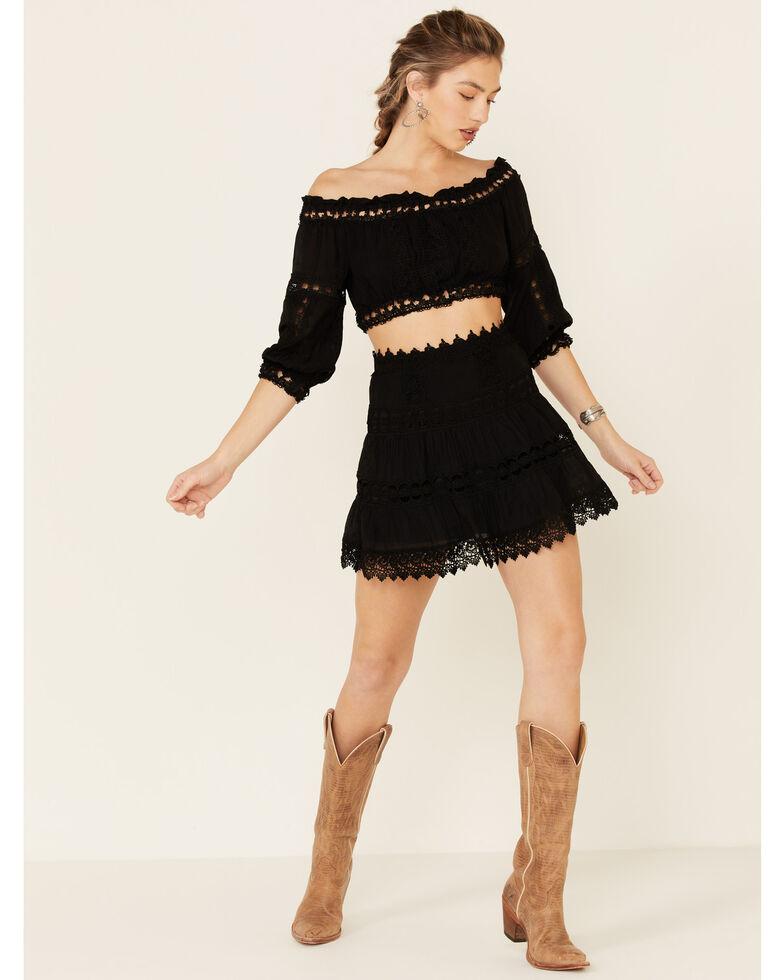 Elan Women's Crochet Inset Mini Skirt, Black, hi-res