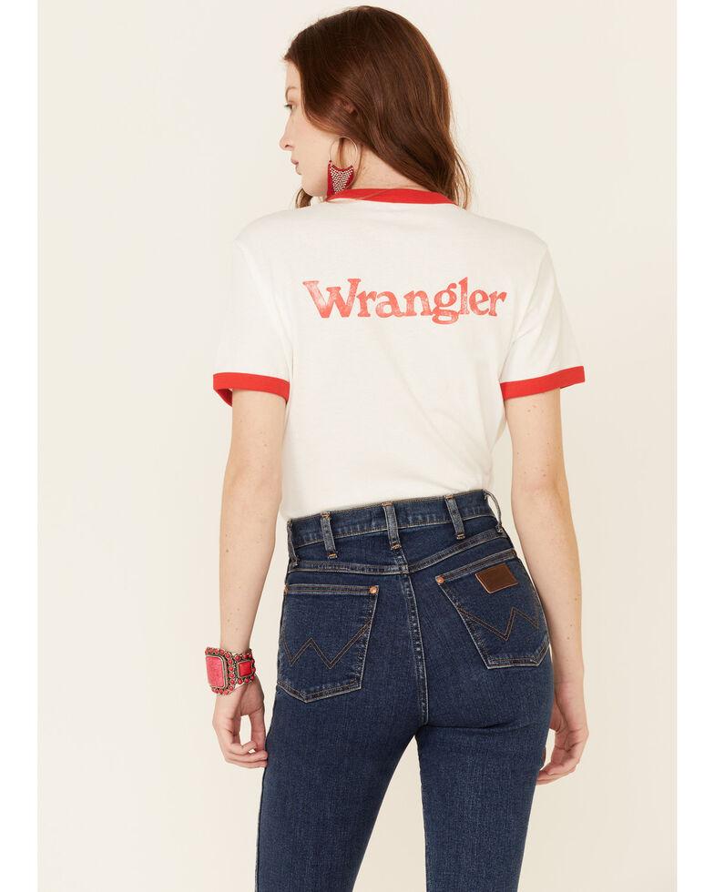 Wrangler Modern Women's White Vintage Back Logo Short Sleeve Ringer Tee , White, hi-res