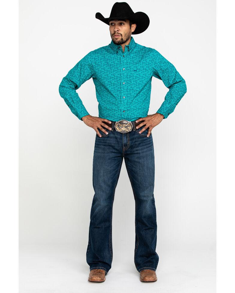 Wrangler 20X Men's Competition Teal Paisley Print Long Sleeve Western Shirt , Teal, hi-res