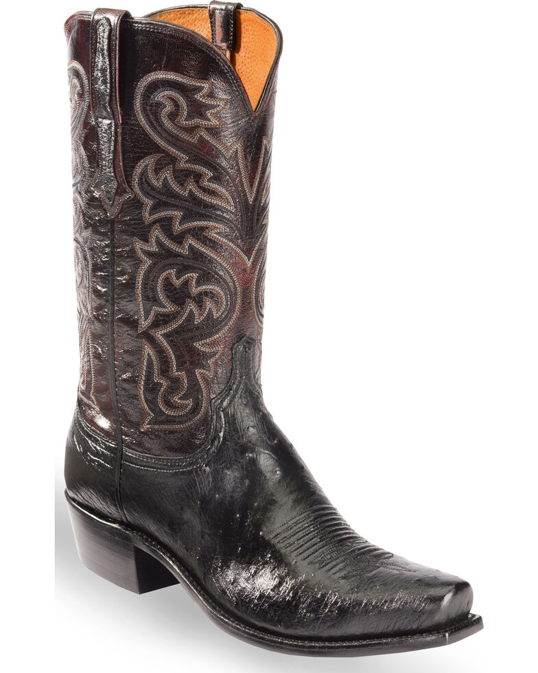 Lucchese Men's Nathan Smooth Ostrich Western Boots - Snip Toe , Black, hi-res
