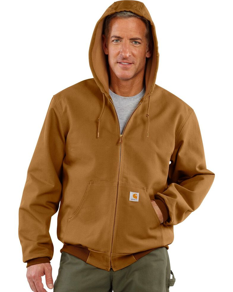 5b6d2a99 Zoomed Image Carhartt Thermal Lined Canvas Hooded Jacket, Brown, hi-res