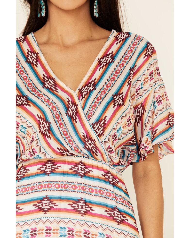 Stetson Women's Aztec Print Surplice Dress, Multi, hi-res