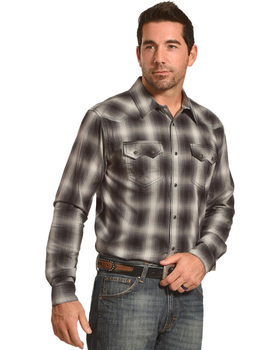 Cody James Men's Faded Plaid Western Long Sleeve Shirt, Black, hi-res