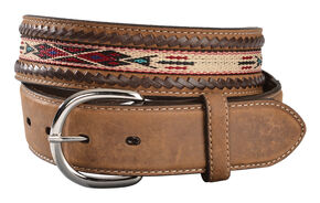 Tony Lama Men's Woven Leather Lace Belt, Bark, hi-res