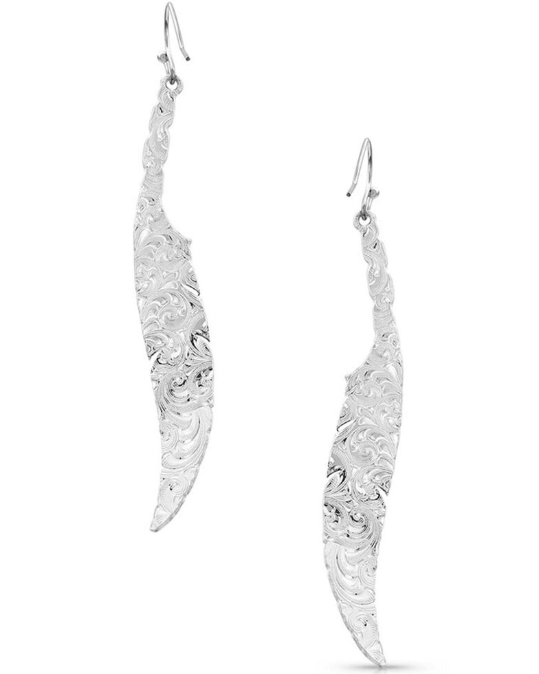 Montana Silversmiths Women's Wind Dancer Wrapped Feather Earrings, Silver, hi-res