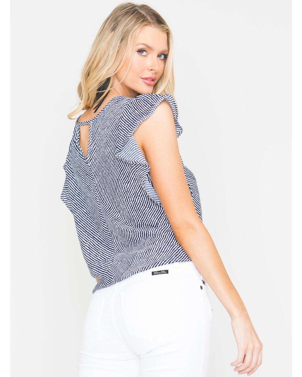 Panhandle Women's Striped Flutter Sleeve Top, Navy, hi-res