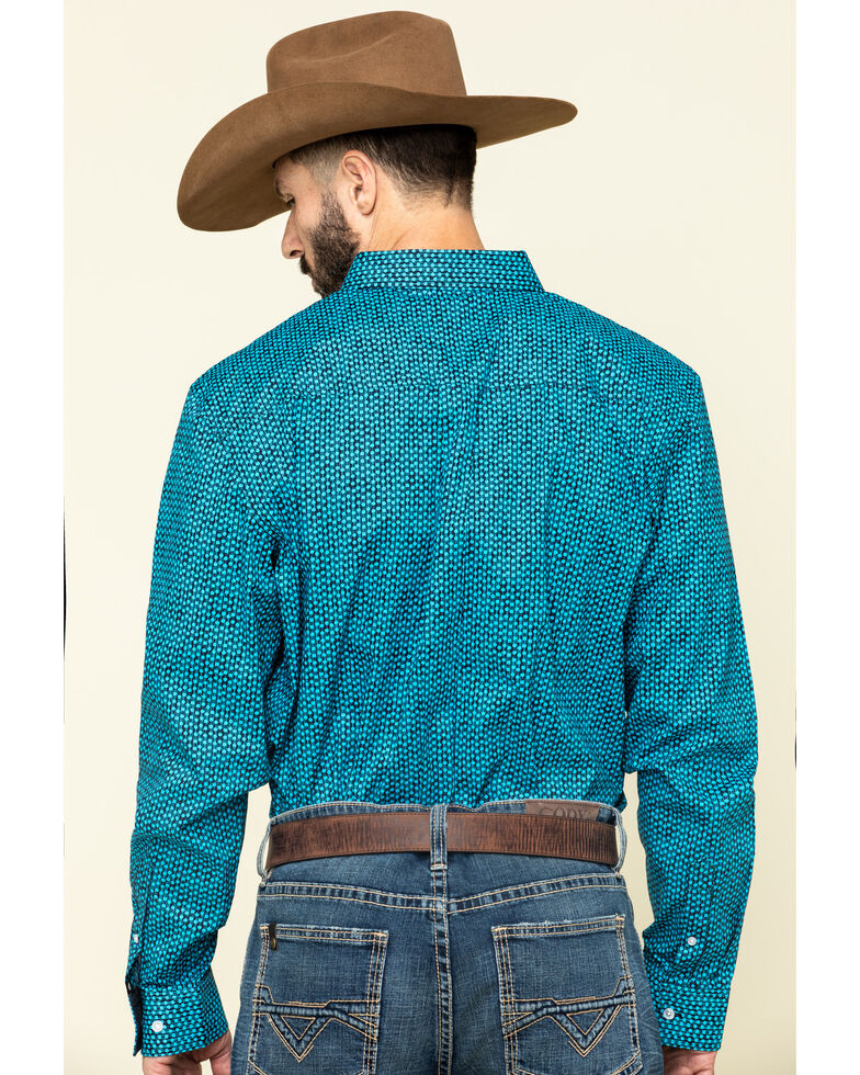 Cody James Core Men's Smokeshow Geo Print Long Sleeve Western Shirt , Turquoise, hi-res